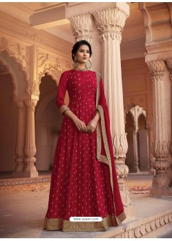 Maroon Heavy Embroidered Designer Pure Rashian Silk Anarkali Suit