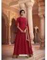 Maroon Heavy Embroidered Designer Pure Rashian Silk Anarkali Suit