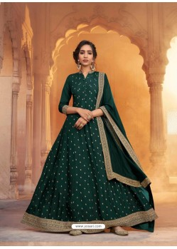 Dark Green Heavy Embroidered Designer Pure Rashian Silk Anarkali Suit