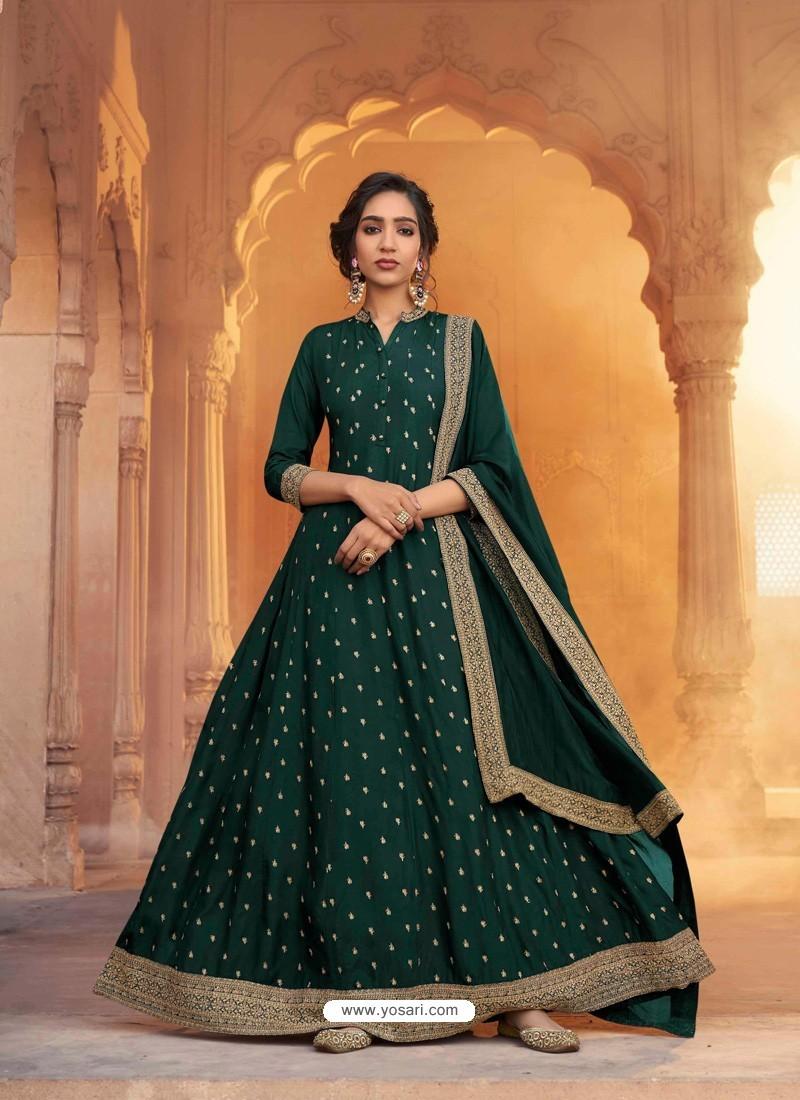 Dark Green Heavy Embroidered Designer Pure Rashian Silk Anarkali Suit