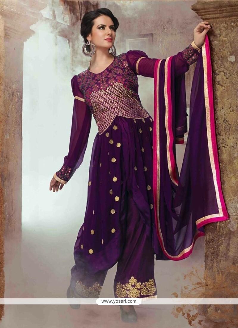 Picturesque Lace Work Georgette Designer Salwar Suit