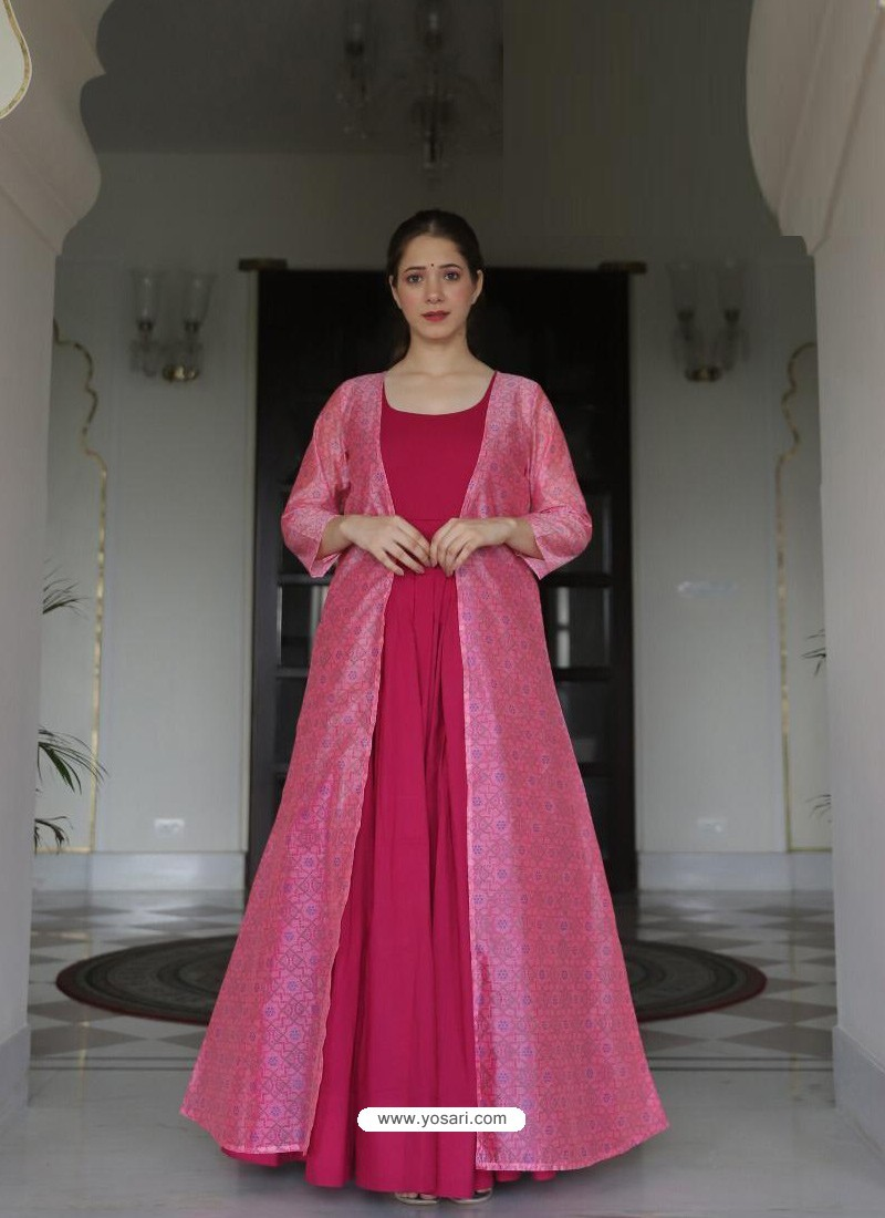 Rani Designer Anarkali Style Party Wear Maslin Kurti With Jacket
