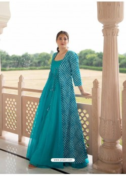 Turquoise Designer Anarkali Style Party Wear Maslin Kurti With Jacket