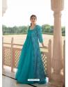 Turquoise Designer Anarkali Style Party Wear Maslin Kurti With Jacket