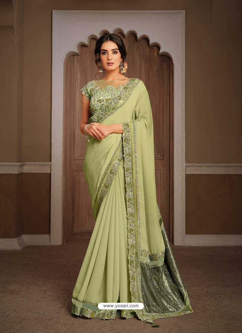 Green Splendid Designer Party Wear Wear Sari