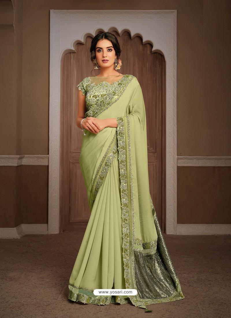 Green Splendid Designer Party Wear Wear Sari