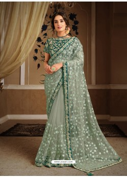 Grayish Green Splendid Designer Party Wear Wear Sari