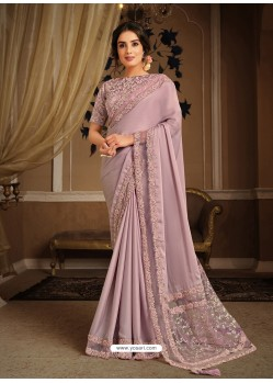 Dusty Pink Splendid Designer Party Wear Wear Sari