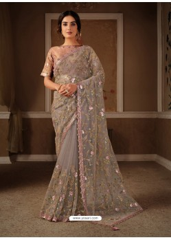 Light Brown Splendid Designer Party Wear Wear Sari