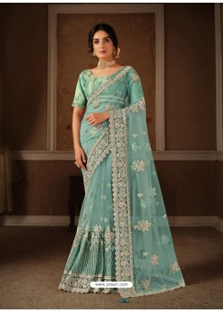 Sky Blue Splendid Designer Party Wear Wear Sari