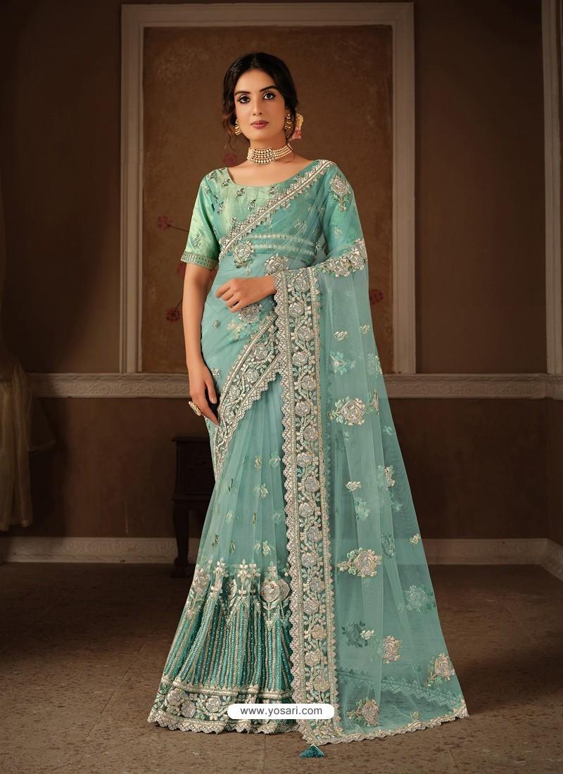 Sky Blue Splendid Designer Party Wear Wear Sari