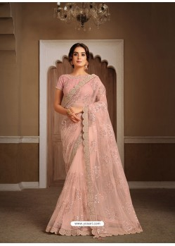 Baby Pink Splendid Designer Party Wear Wear Sari
