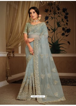 Aqua Grey Splendid Designer Party Wear Wear Sari
