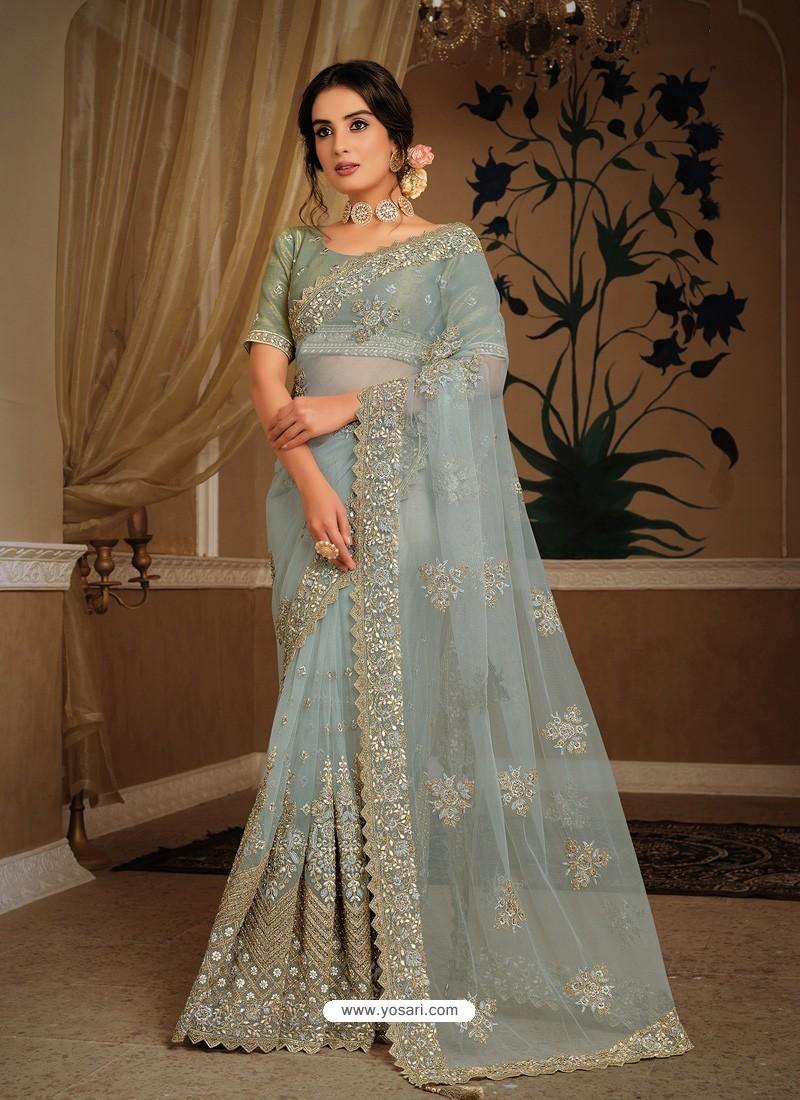 Aqua Grey Splendid Designer Party Wear Wear Sari