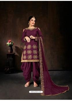 Deep Wine Heavy Designer Party Wear Velvet Punjabi Patiala Suit