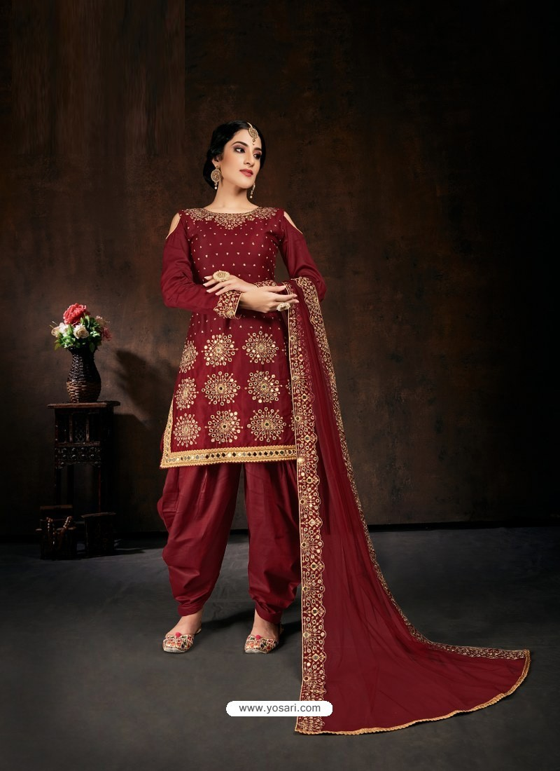 Maroon Heavy Designer Party Wear Velvet Punjabi Patiala Suit