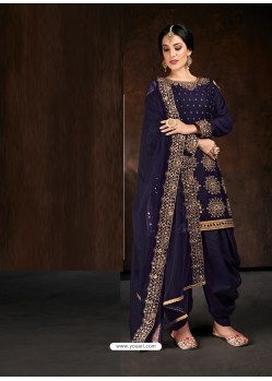 Navy Blue Heavy Designer Party Wear Velvet Punjabi Patiala Suit