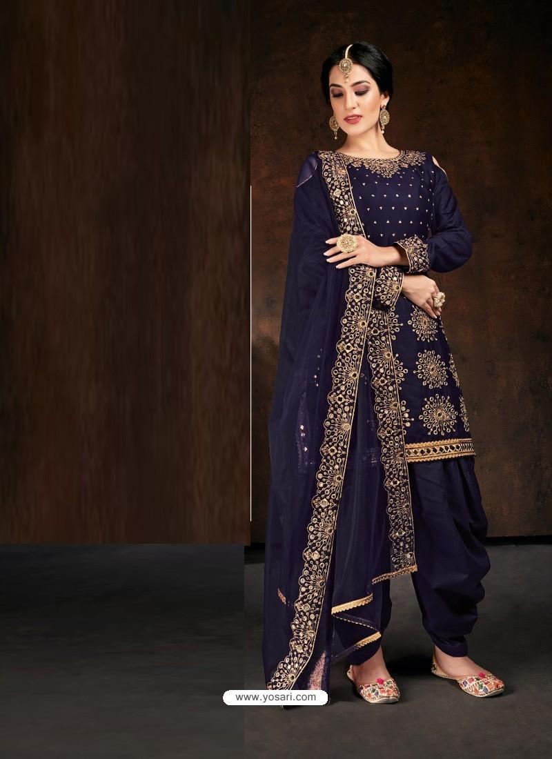 Navy Blue Heavy Designer Party Wear Velvet Punjabi Patiala Suit