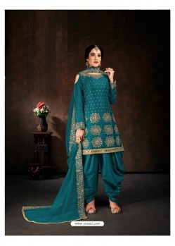 Blue Heavy Designer Party Wear Velvet Punjabi Patiala Suit