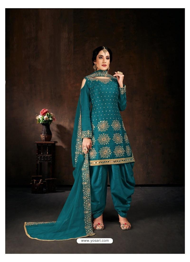 Blue Heavy Designer Party Wear Velvet Punjabi Patiala Suit