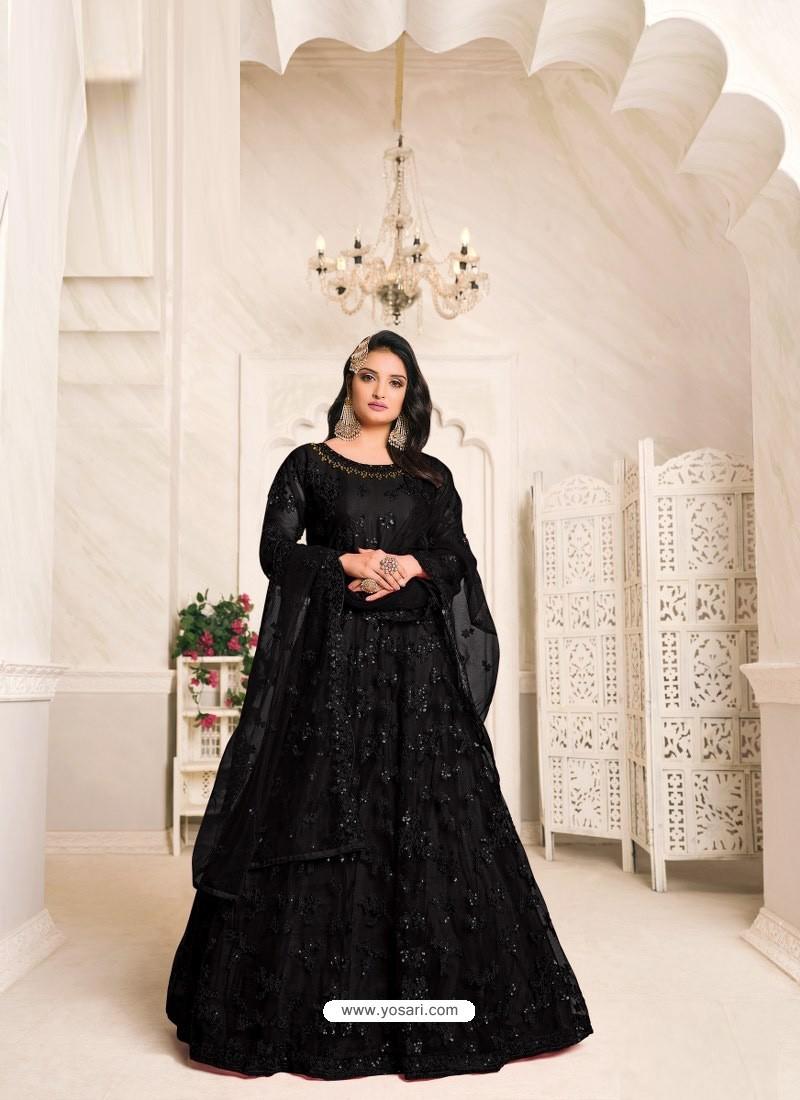Black Heavy Embroidered Designer Net Anarkali Suit