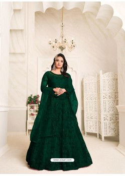 Dark Green Heavy Embroidered Designer Net Anarkali Suit