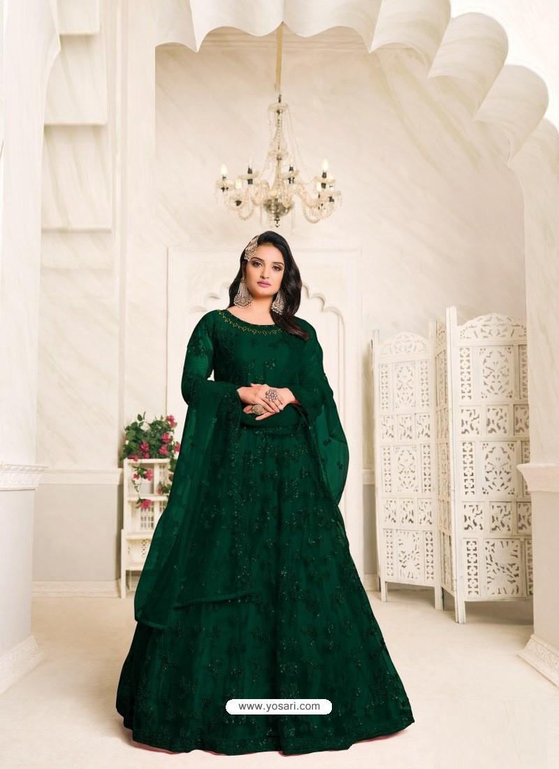 Dark Green Heavy Embroidered Designer Net Anarkali Suit