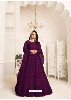 Purple Heavy Embroidered Designer Net Anarkali Suit