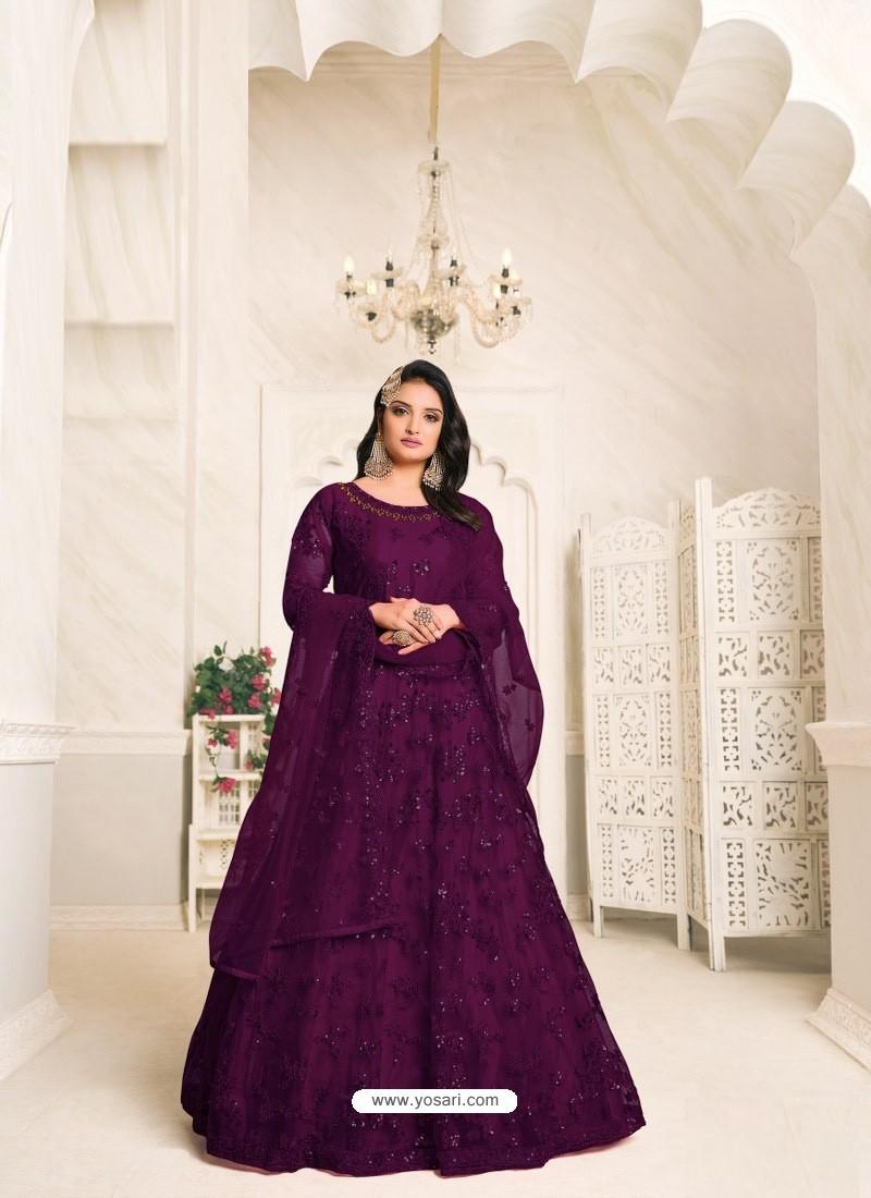 Purple Heavy Embroidered Designer Net Anarkali Suit