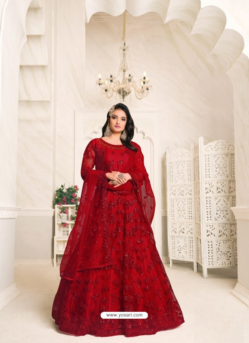 Maroon Heavy Embroidered Designer Net Anarkali Suit