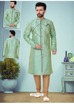 Sea Green Readymade Designer Indo Western Sherwani