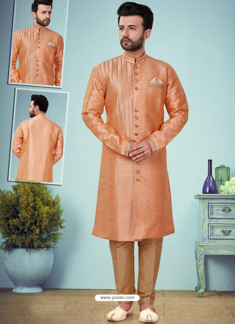 Light Orange Readymade Designer Indo Western Sherwani