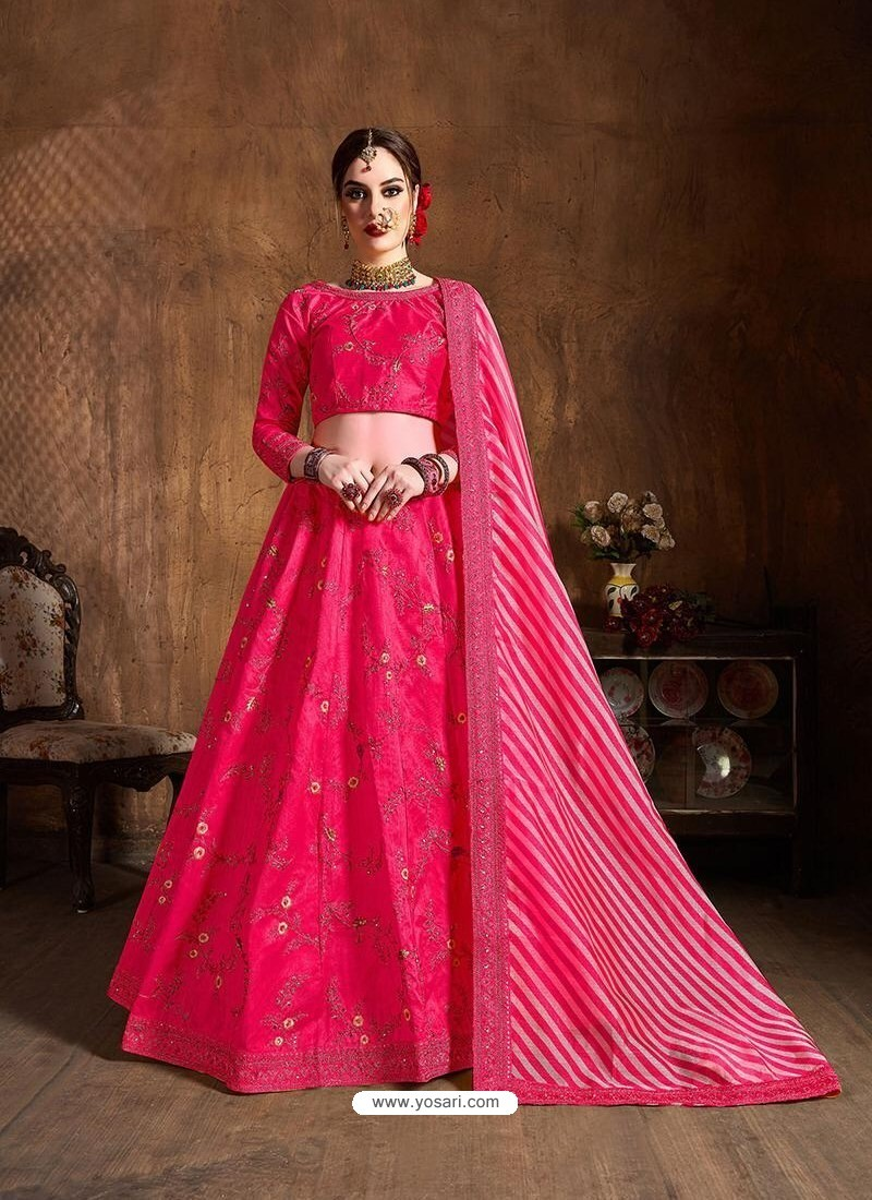 Fuchsia Stylish Designer Wedding Wear Lehenga