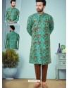 Aqua Mint Readymade Designer Indo Western Sherwani