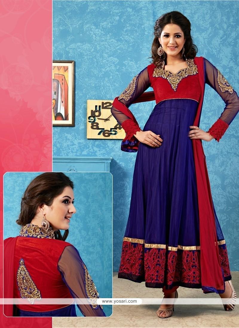 Decent Blue And Red Velvet Anarkali Salwar Suit
