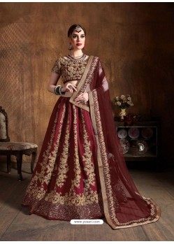 Maroon Stylish Designer Wedding Wear Lehenga