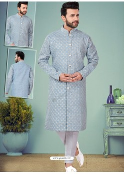 Aqua Grey Readymade Designer Indo Western Sherwani