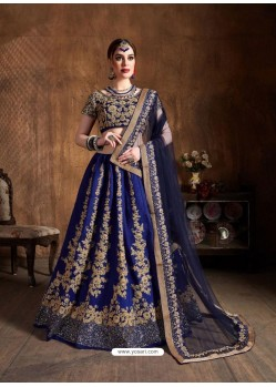 Royal Blue Stylish Designer Wedding Wear Lehenga