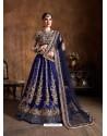 Royal Blue Stylish Designer Wedding Wear Lehenga