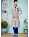 Light Grey Readymade Designer Indo Western Sherwani
