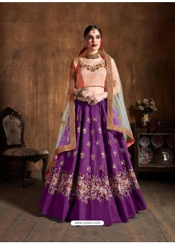 Purple Stylish Designer Wedding Wear Lehenga