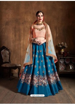 Blue Stylish Designer Wedding Wear Lehenga