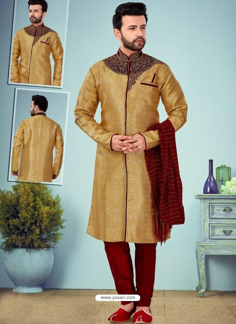 Mustard Readymade Designer Indo Western Sherwani