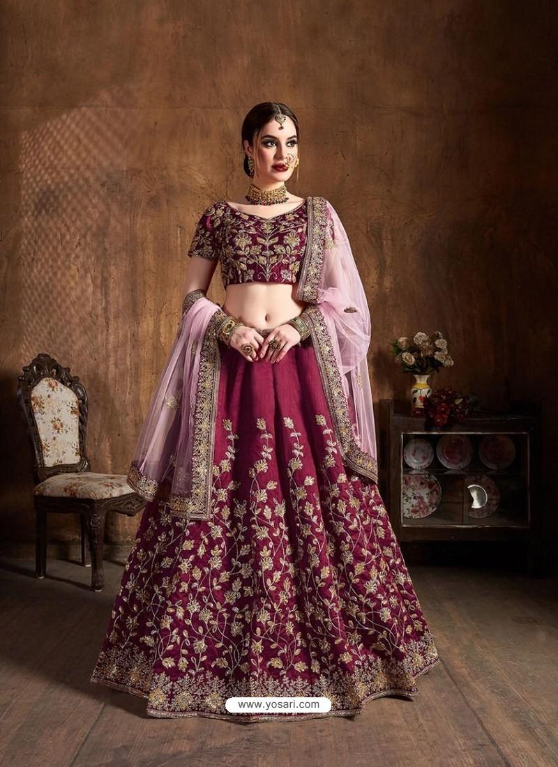Maroon Stylish Designer Wedding Wear Lehenga
