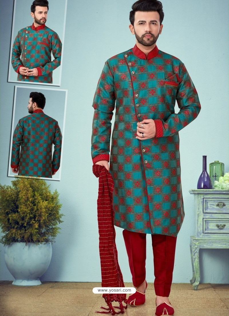 Blue Readymade Designer Indo Western Sherwani