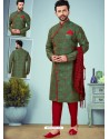 Forest Green Readymade Designer Indo Western Sherwani