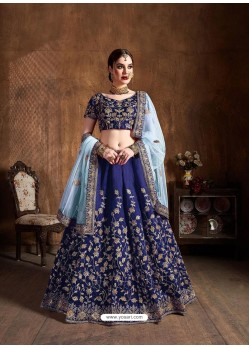 Dark Blue Stylish Designer Wedding Wear Lehenga