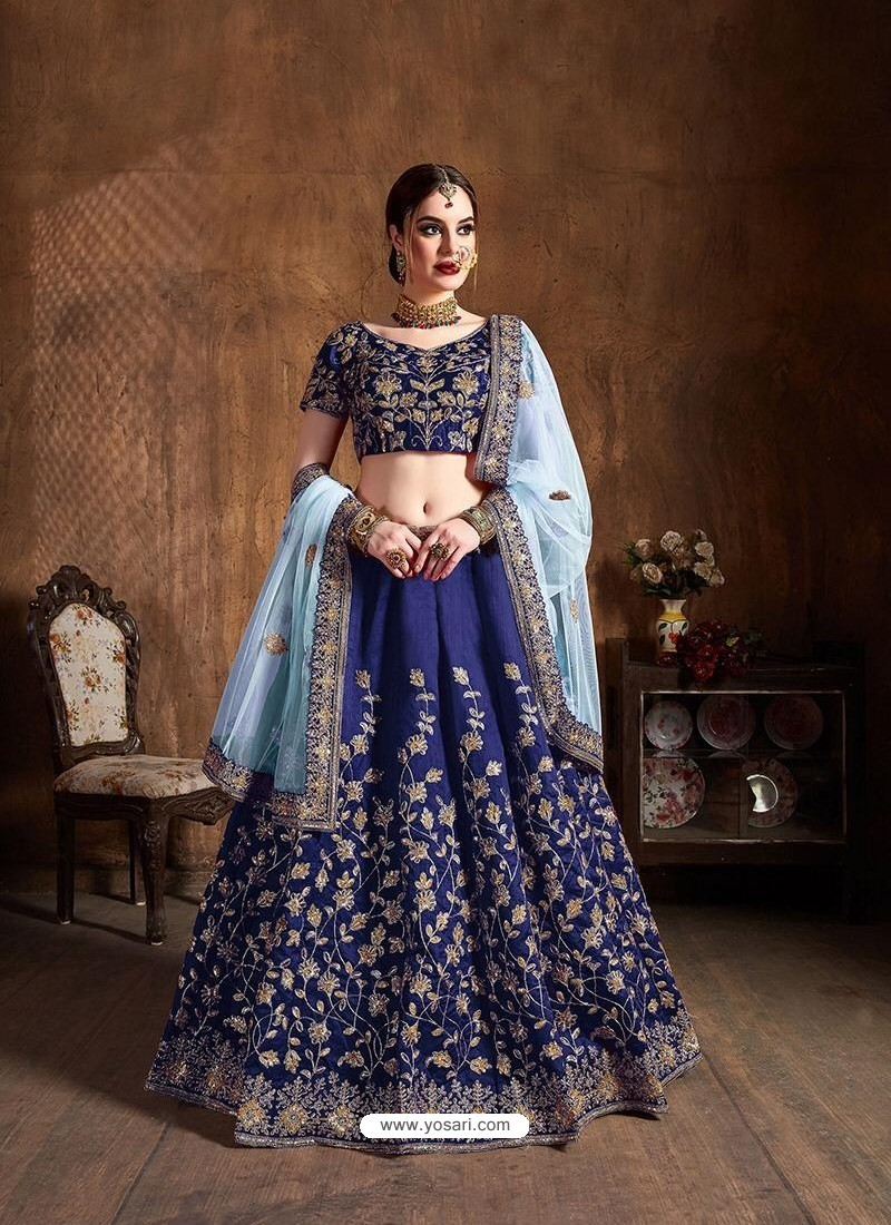 Dark Blue Stylish Designer Wedding Wear Lehenga