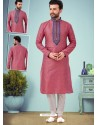 Old Rose Readymade Designer Party Wear Kurta Pajama For Men
