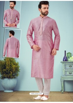 Dusty Pink Readymade Designer Party Wear Kurta Pajama For Men